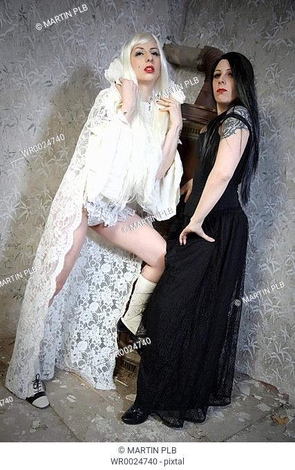 two young women - good and evil / black and white