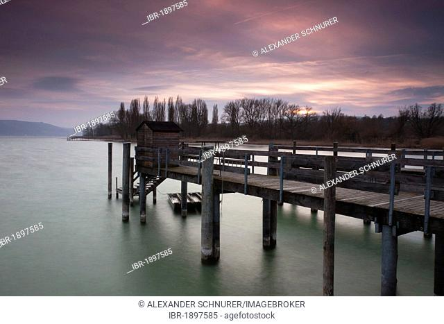 Marina in Hornstaad on Lake Constance at sunset, Baden-Wuerttemberg, Germany, Europe