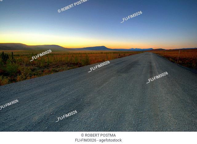 Dempster Highway at Sunset, northern Yukon