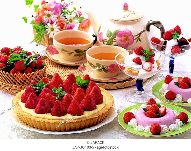 Selection of strawberry desserts