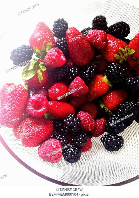 Fresh fruit in strainer