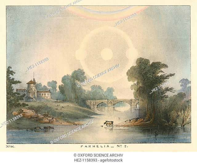 Parhelia (mock suns) combined with a halo and rainbow, 1721 (1845). This phenomenon, caused by atmospheric refraction, was observed in England in 1721