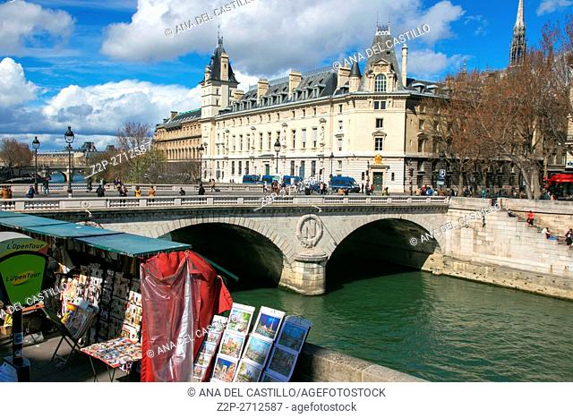 The picturesque embankments of the Seine River and bridge. Paris, on March 29, 2016 in France