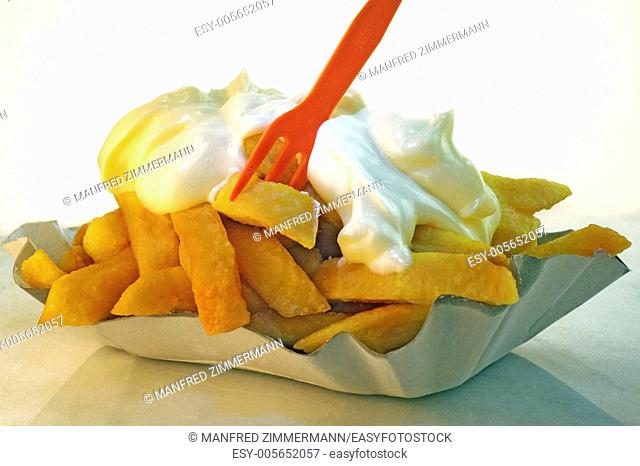 Elk-skin with fat fries and mayonnaise as a symbol for unhealthy nutrition