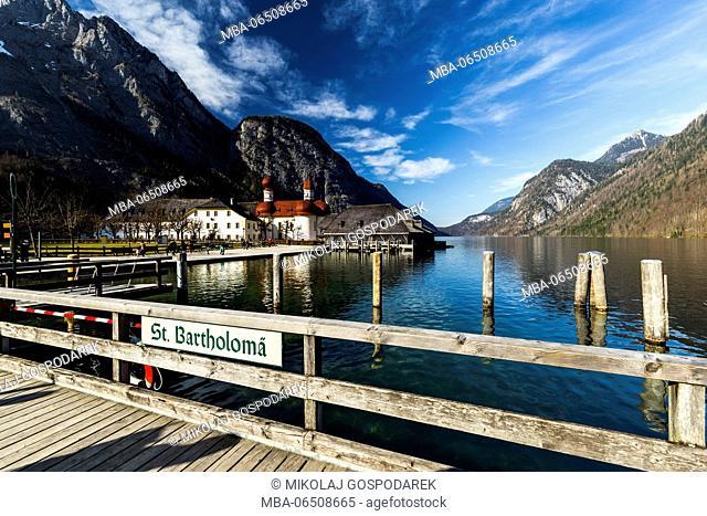 Europe, Germany, Bavaria, Königssee. St. Bartholomew's Church. Berchtesgaden National Park