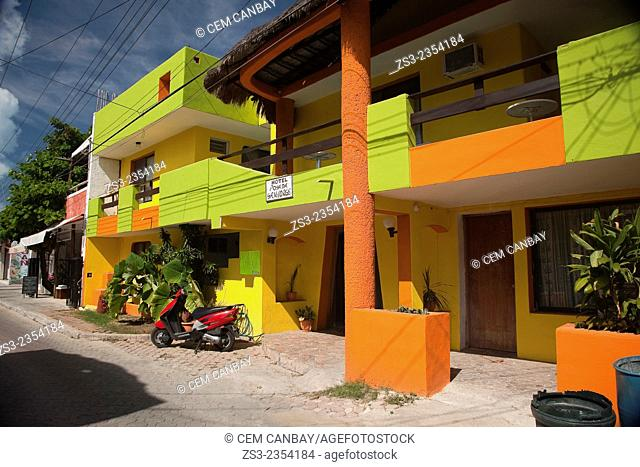 Colorful buildings in town center, Isla Mujeres, Cancun, Quintana Roo, Yucatan Province, Mexico, Central America