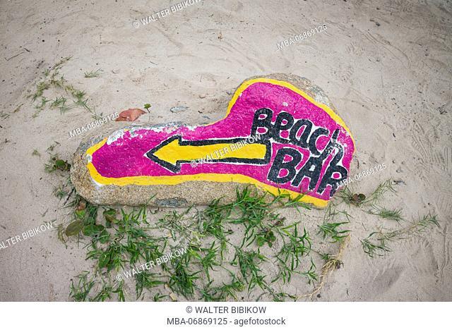 French West Indies, St-Martin, Orient Beach, beach bar sign