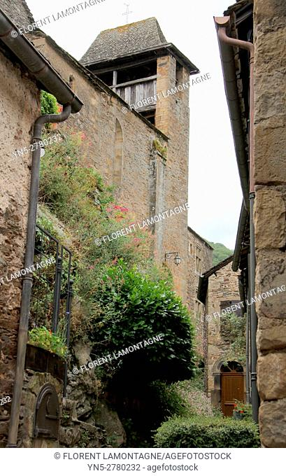 View on the streets of the village of Brousse le Chateau, Aveyron, Occitanie, Languedoc, Roussillon, France