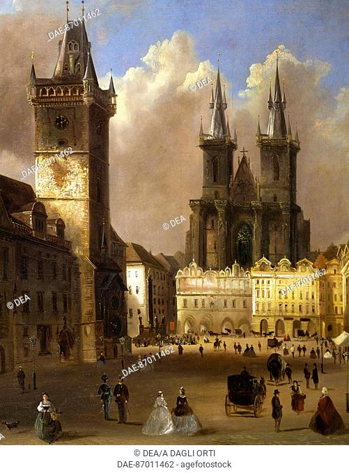 View of the old town of Prague with the church of Our Lady before Tyn, 1866, by Ferdinand Lepick, Czech Republic 19th Century. Detail