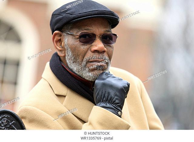 Portrait of a man thinking, Boston, Suffolk County, Massachusetts, USA