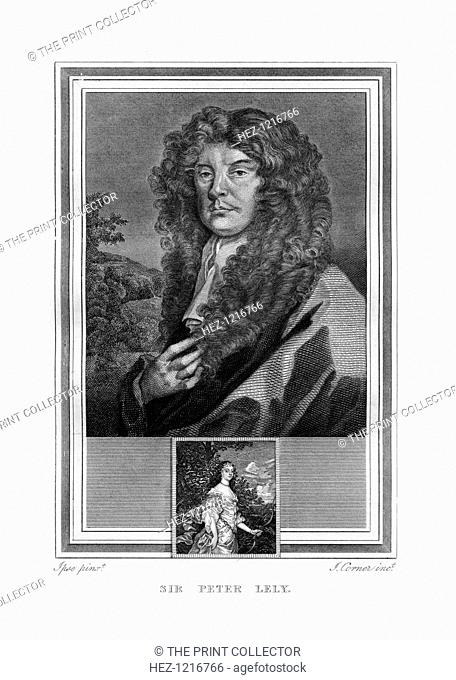 Sir Peter Lely, Dutch-born English Baroque era painter, (1825). An engraving of Lely (1618-1680) from John Corner's Portraits of Celebrated Painters, (London