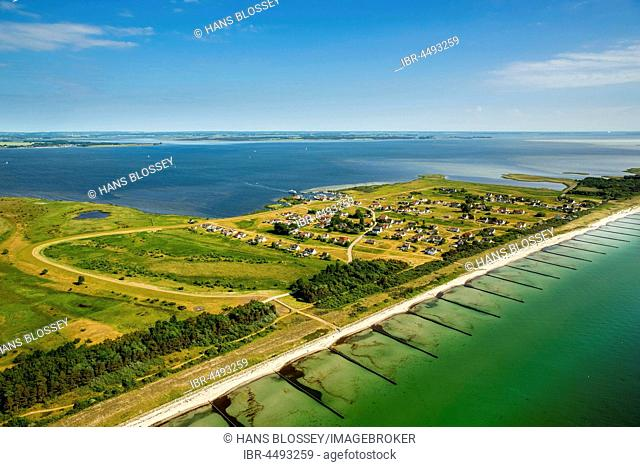 Bay and harbour of Neuendorf, beach, Island Hiddensee, Baltic coast, Mecklenburg-Western Pomerania, Germany