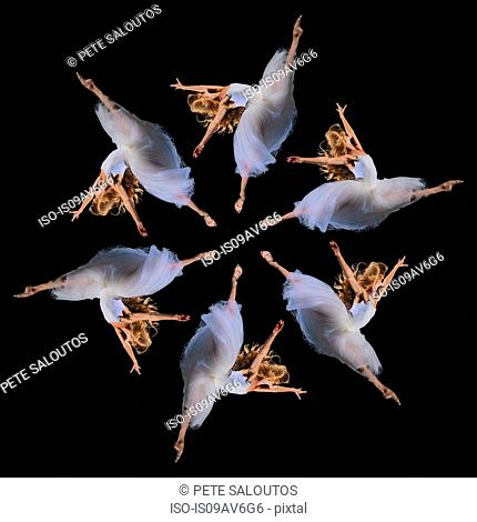 Composite repetition circle of six female ballet dancers leaping