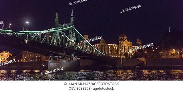 The Gellert baths and the bridge of freedom. Budapest Hungary