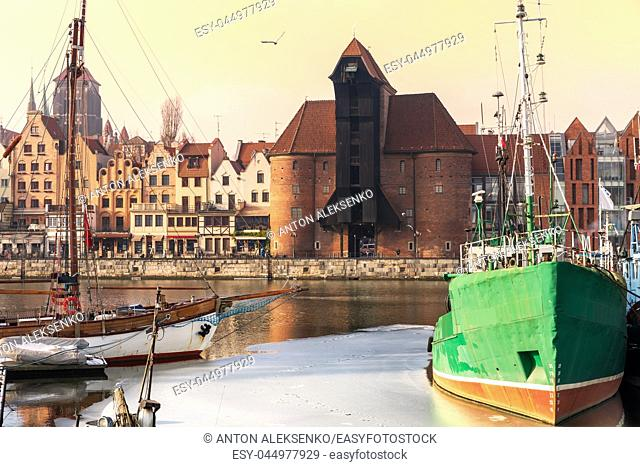 Pier in Gdansk and view on Zuraw Port Crane
