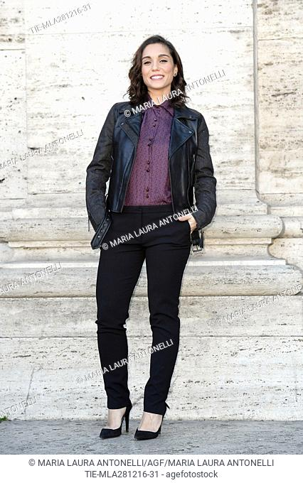 The actress Cristiana Dell'Anna wears a Trussardi dress during the photocall of film Mister Felicita', Rome, ITALY-28-12-2016
