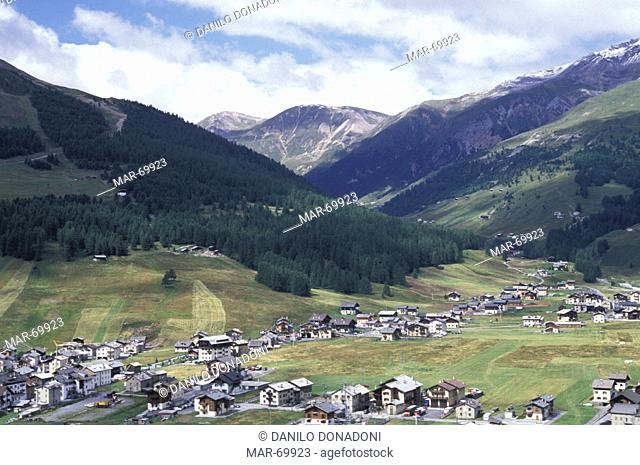 town view and vans, livigno, italy