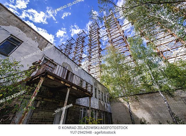 Soviet Duga radar system and building in Chernobyl-2 military base, Chernobyl Zone of Alienation in Ukraine