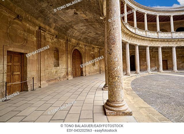 Alhambra Carlos V courtyard in Granada of Spain Andalusia