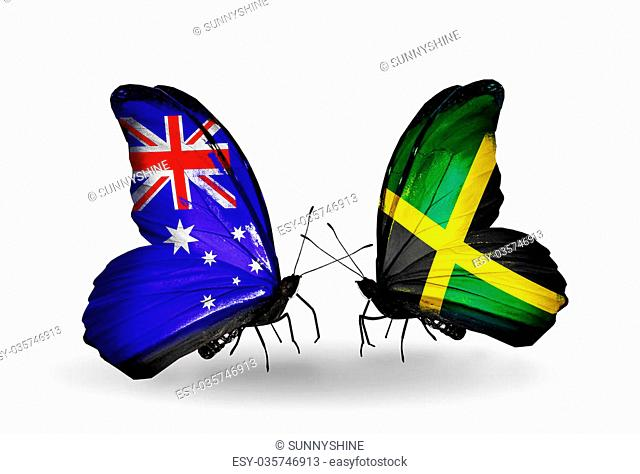 Two butterflies with flags on wings as symbol of relations Australia and Jamaica