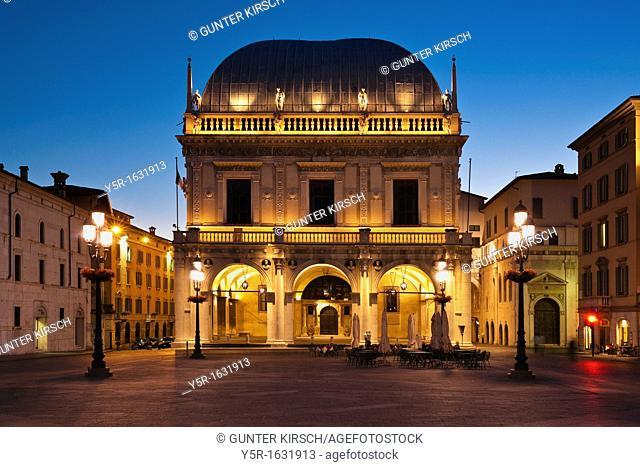 Renaissance-building Loggia, at Square Piazza della Logia, now municipal administration, Brescia, Lombardy, Northern Italy, Italy, Europe