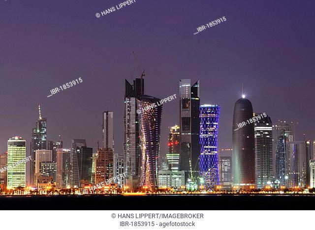 Skyline of Doha, West Bay District, Doha, Qatar, Arabian Peninsula, Persian Gulf, Middle East, Asia