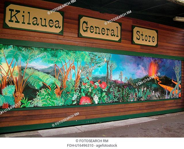 Big Island, Island of Hawaii, HI, Hawaii, Volcano Village, Kilauea General Store, wall mural