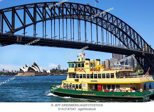 Australia, NSW, New South Wales, Sydney, Harbour Bridge, harbor, Opera House, Sydney Ferries, ferry, boat, public transportation