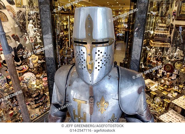 Spain, Europe, Spanish, Toledo, store, business, shopping, forged metals, souvenirs, gift shop, suit of armor, armour, Medieval, knight's