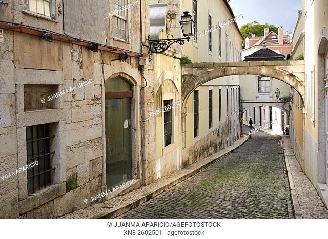 Ancient Street in Lisbon, Portugal, Europe