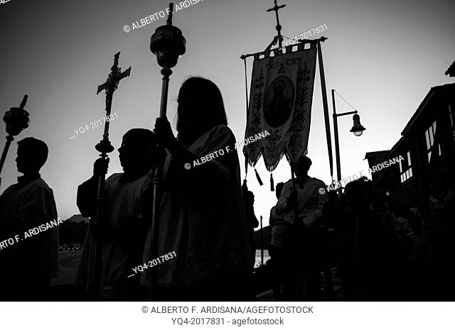 Procession of Our Lady of Guia in Ribadesella. Asturias. Spain