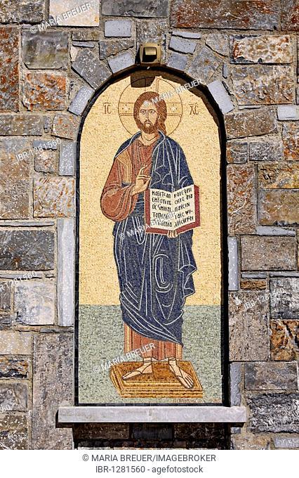 Saint, mosaic, church, mountain village Axos, Crete, Greece, Europe