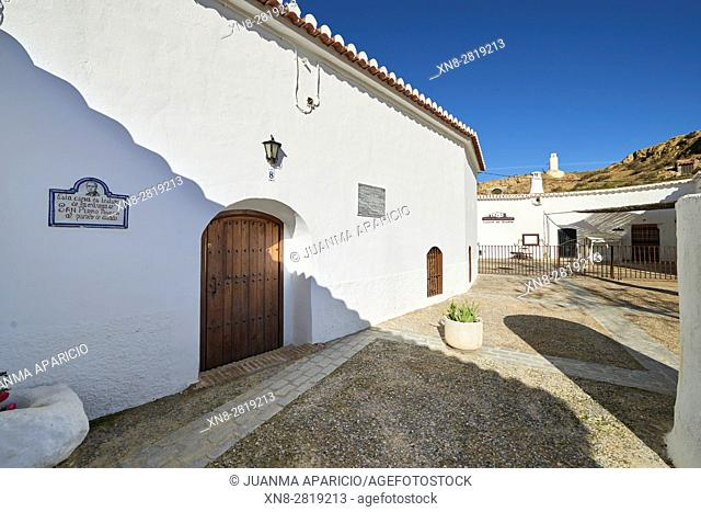 Cave houses in the town of Guadix province of Granada, Granada, Andalusia, Spain, Europe