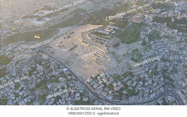 Aerial footage of mount of Olives in eastern Jerusalem. Cemetery