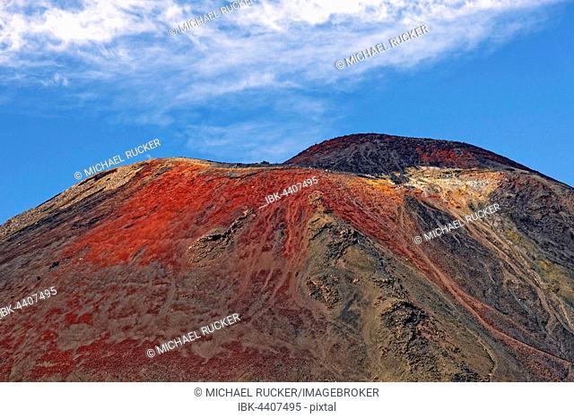 Summit of volcanic Mount Ngauruhoe, Tongariro Alpine Crossing trail, Manawatu-Wanganui, North Island, New Zealand