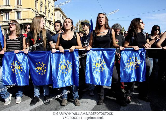 Rome, Italy. 19th Oct, 2013 Demonstrators at an Anti Government Austerity Rally in Rome, Italy