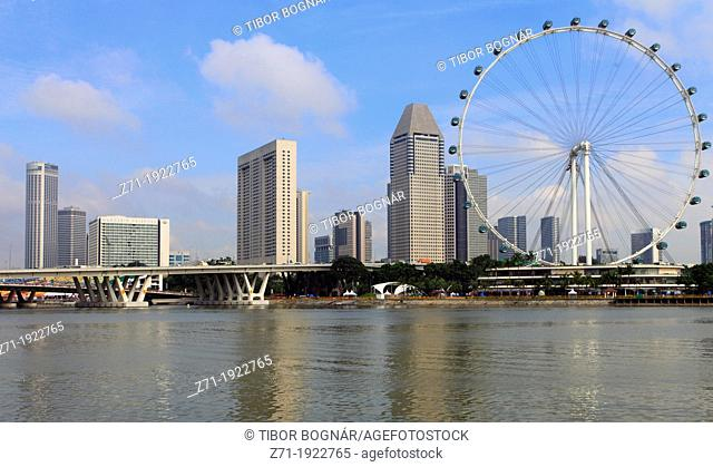 Singapore, Marina, Singapore Flyer, skyline