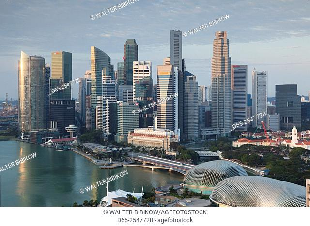 Singapore, city skyline elevated view above the Marina Reservoir, dawn