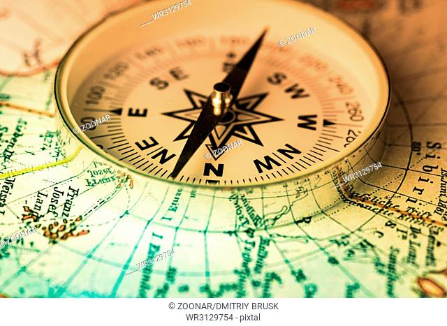 compass on the world map