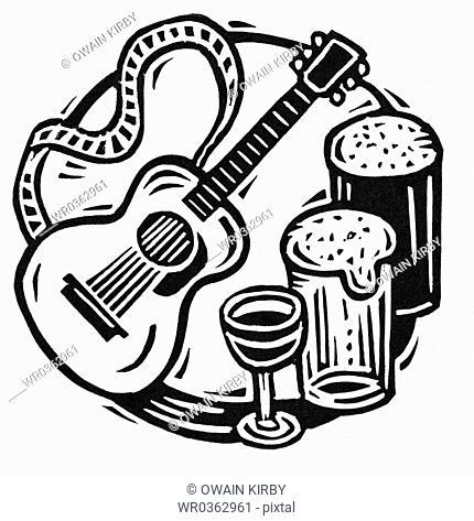 Guitar, Wine, Beer
