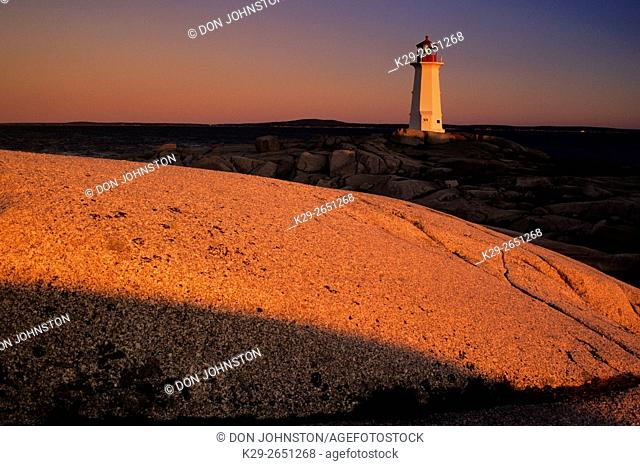 Peggys Cove Lighthouse at dawn, Peggys Cove, Nova Scotia, Canada