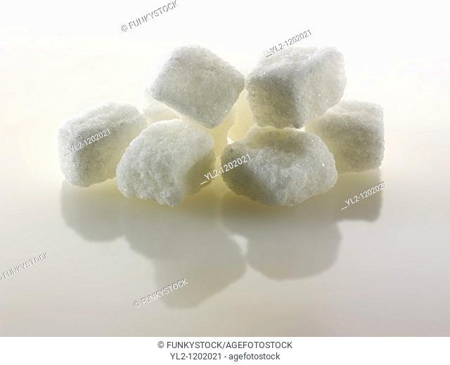 Rough cut white sugar cubes