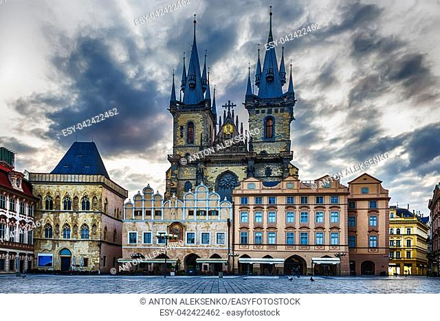 Church of Our Lady before Tyn in Old Town Square of Prague, Czech Republic