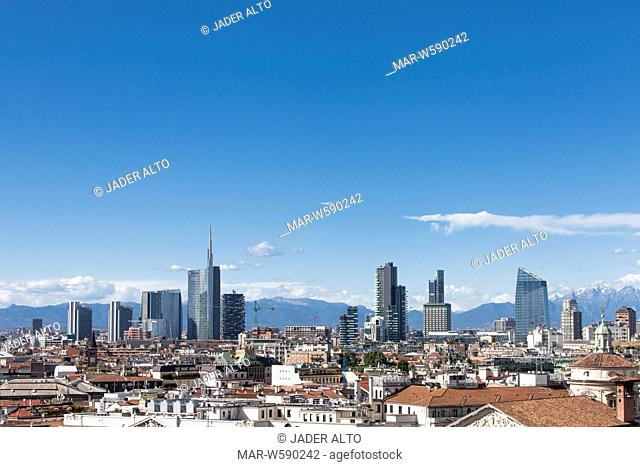 Milan skyline with buildings of the porta nuova and varesine project, the business center of Milan