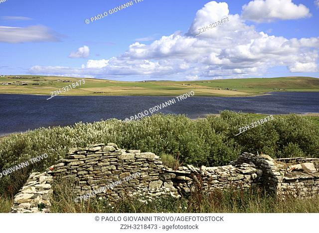 The country landscape in the middle of Orkney's island, Scotland, Highlands, United Kingdom