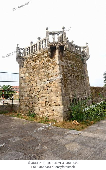 tower of walls in Cambados, Pontevedra province, Galicia, Spain
