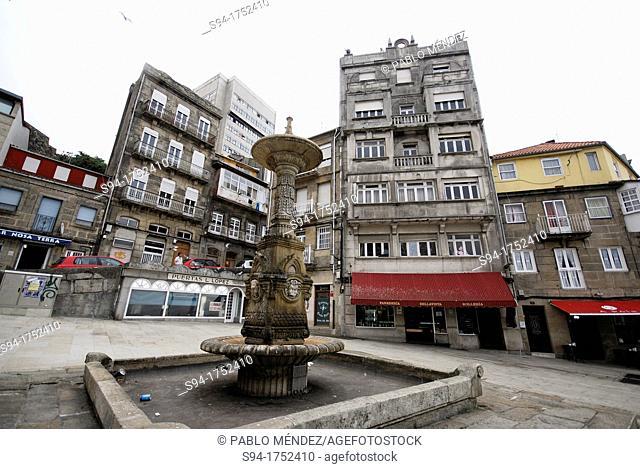 Historic square in center of Vigo, Pontevedra, Spain
