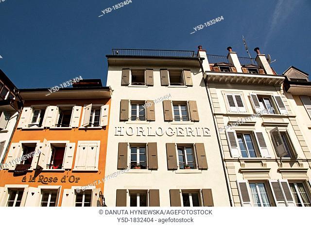 facades in Vevey, canton Vaud, Switzerland, Horlogerie - watchmaking