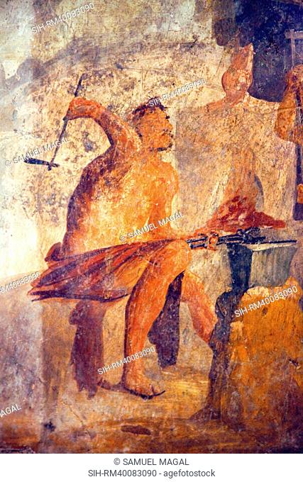 Italy, Naples, Naples Museum, from Pompeii, House of Quadrighe VII 2, 25, The Workshop of Efesto
