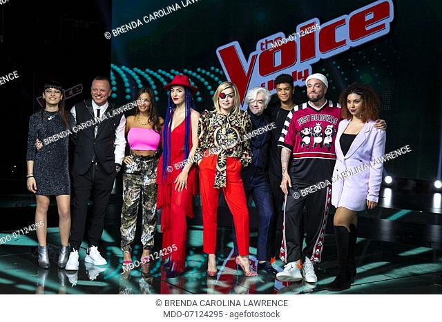 Brenda Carolina Lawrence, Carmen Pierri, Dominique Chillé Diouf, Elettra Lamborghini, Gigi D'Alessio, Gue Pequeno, Miriam Di Criscio and Morgan attend the press...